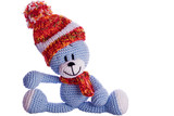 teddy bear with  scarf and bobble cap in winter