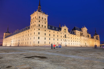 Royal Monastery of San Lorenzo de El Escorial at night, Madrid