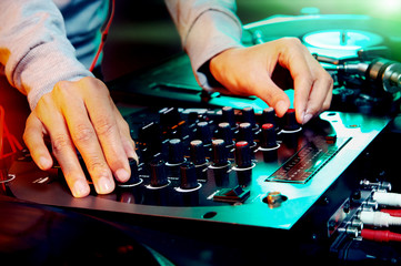 dj using equipment