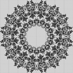 Baroque round vintage lace background