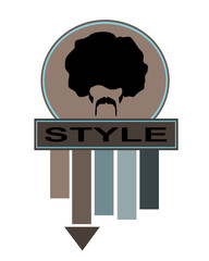 style label template with arrow and man with afro