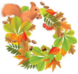 Autumn wreath with squirrel