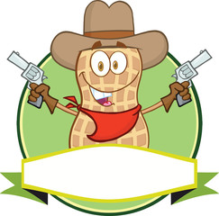 Peanut Cowboy Cartoon Label