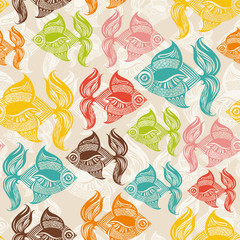 Seamless pattern with colored fishes