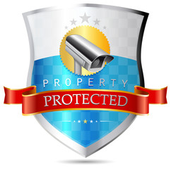 Labels - Security camera, property protected