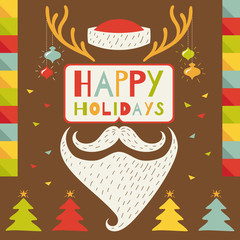 Merry Christmas greeting card in hipster style