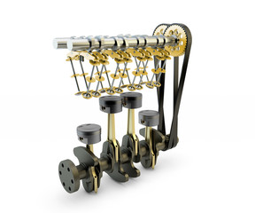 Engine with pistons, valves, crankshaft and camshaft isolated on