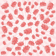 Abstract background with pink pigs. Vector