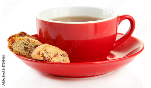 Cup of tea with cookies isolated on white