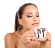 Portrait of beautiful young girl with cup of hot chocolate