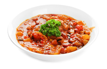 Chili Corn Carne - traditional mexican food, isolated on white