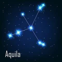 "The constellation ""Aquila"" star in the night sky. Vector illustr"