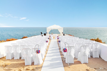 Beautiful decorations for the wedding ceremony when. On the shor