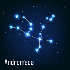 "The constellation "" Andromeda"" star in the night sky. Vector ill"