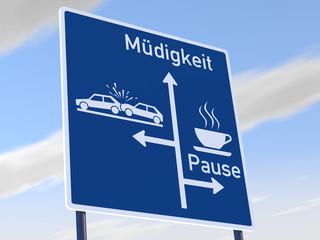 Sekundenschlaf Autobahnschild Pause