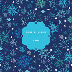 Vector night snowflakes frame seamless pattern background with
