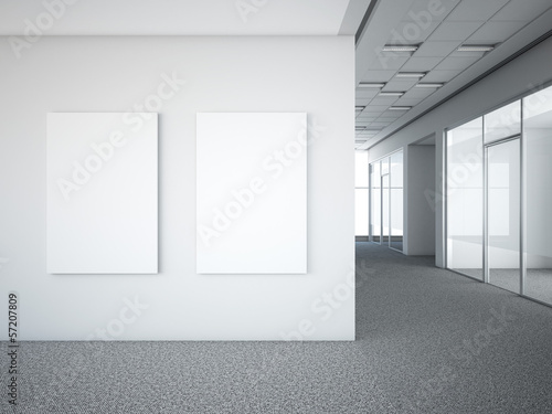 Foto op Canvas Wand office interior with two white frames