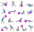 women doing pilates - vector illustration