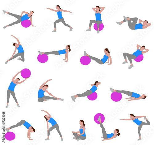 women doing pilates - vector illustration