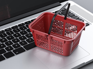 food basket and laptop
