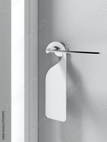 Blank sign on the door handle