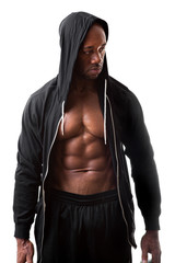 Muscular Man Wearing a Hoodie
