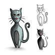 Halloween monsters isolated sketch style black cats set.