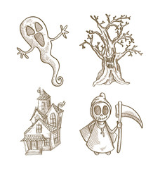 Halloween classics isolated sketch style creatures set.