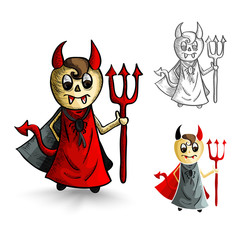 Halloween monsters isolated sketch style devils set.