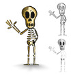 Halloween monsters isolated spooky skeletons set.