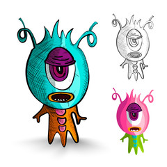 Halloween monsters isolated sketch style creatures set.