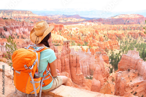 Hiker woman in Bryce Canyon hiking