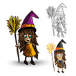 Halloween monsters spooky isolated witches set.