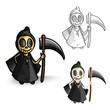 Halloween monsters isolated spooky reapers set.