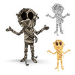 Halloween monsters isolated spooky mummies set.