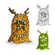 Halloween Monsters spooky isolated creatures set.