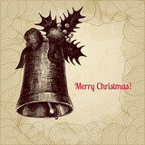 Christmas vector card with hand drawn ink pen stylized bell and