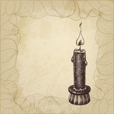 Artistic hand drawn illustration with candle and a place for You