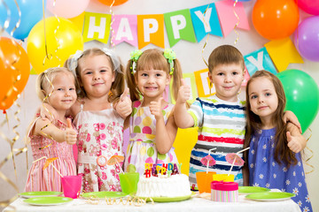 children celebrating birthday party