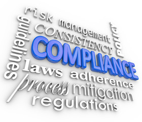 Compliance Word Background Legal Regulations Adherence