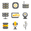 communication and network icons, electronics button, gold theme