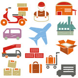 logistic and transportation icons set