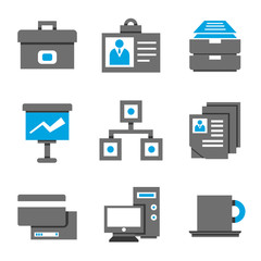 office and business management icons, blue theme