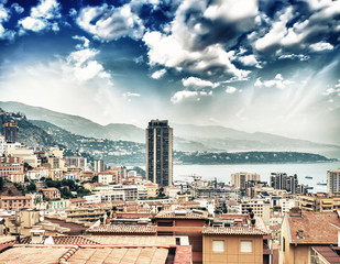 Monaco - Montecarlo, France - Spectacular panoramic city view at