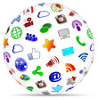 Social Media Sphere Shadow Icons