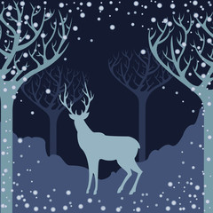 Deer silhouette in winter forest