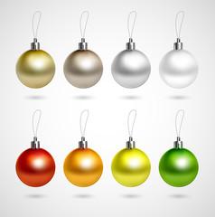 Set of eight evening balls. Gold, silver, bronze symbol.