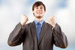 Young businessman happy and Cheers