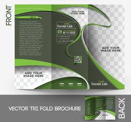 Tri-fold Dental Brochure Design Vector Illustration