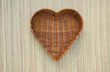 empty heart form wicker basket